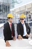 Engineers meeting at construction site — Stock Photo