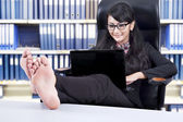 Businesswoman working on the laptop — Stock Photo