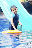 Cute Asian Kid Posing at Swimming Pool — Stock Photo