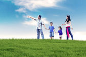 Asian Family Having Fun Outdoor — Stock Photo