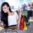 beautiful woman at shopping center — Stock Photo