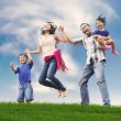Happy Asian Family in Meadow — Stock Photo