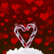 Christmas background with snow and hearts — Stock Photo #7964687