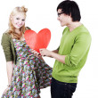 Stock Photo: Cute geeky asicaucasicouple