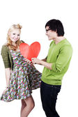 Cute geeky asian caucasian couple — Stock Photo