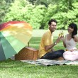 Couple with champagne glasses in the park — 图库照片