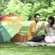 Couple with champagne glasses in the park — Stockfoto