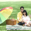 Couple with champagne in the park — 图库照片
