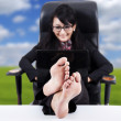Business Woman with Feet Up on a Table — Stock Photo #8511429