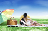 Couple picnic in the park — Stock Photo