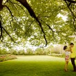 Kiss under the green tree — Stock Photo