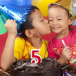 Sibling celebrating birthday — Stock Photo