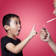 Asian boy ask his father to quit smoking — Stock Photo