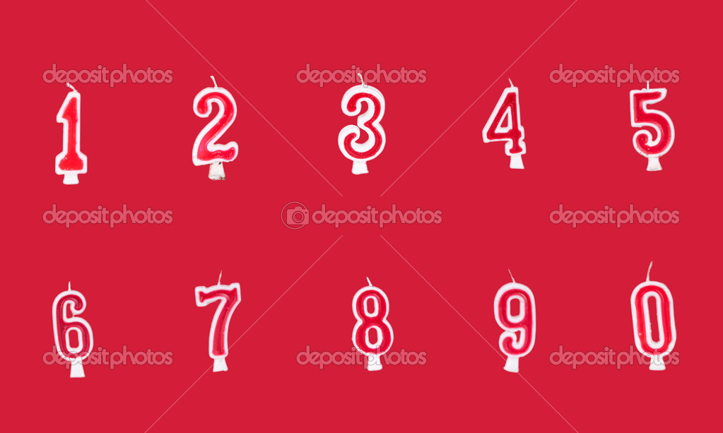 Numeral birthday candles on red bakcground — Stock Photo #8743171