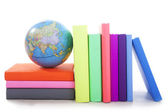 Geography books with a globe — Stock Photo