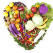 Heart made of fruits and vegetables — Stock Photo