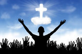 Christian Background: Worshipers — Stock Photo