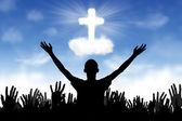 Christian Background: Worshipers — Stock Photo