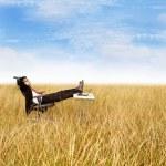 Businessman relaxing outdoor — Stock Photo