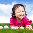 Stock Photo: Cute girl with easter eggs