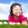 Foto Stock: Cute girl with easter eggs