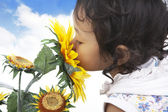 Cute girl smelling sunflowers — Stock Photo