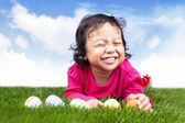 Cute girl with easter eggs — Stok fotoğraf
