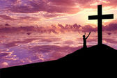 Silhouette of a man Praising Jesus — Stock Photo