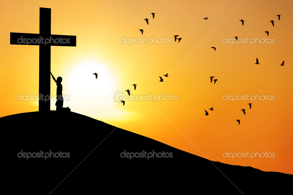 Worship Cross Man worship the cross - stock