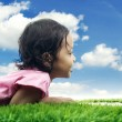 Kid with laptop in meadow — Stock Photo