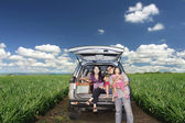 Happy Family on a road trip — Stok fotoğraf