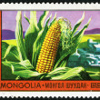 Stock Photo: Corn and farming. Postage stamp Mongolia