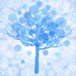 Blue snowflakes on the tree — Stock Vector #8040593