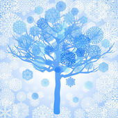 Blue snowflakes on the tree — Vector de stock