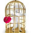 Man trapped in a golden cage - Stock Photo