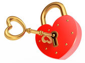 Key opens the padlock — Stockfoto