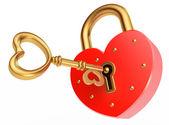 Key opens the padlock — Stock Photo