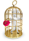 Man trapped in a golden cage — Stockfoto
