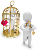 Man in a golden cage — Stock Photo