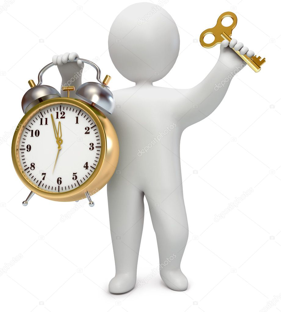 With an alarm clock and a key, on a white background, 3d render — Stock Photo #8293214