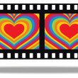Film with psychedelic heart in frames — Stock Vector #8751319