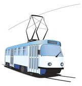 Classic Czech tramway in vector. Blue and white colors — Stock Vector