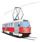 Classic Czech tramway in vector. Traditional colors — ストックベクタ