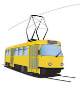 Classic Czech tramway in vector. Yellow and black colors — Stock Vector