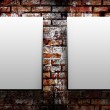 Two blank on a brick wall — Stock Photo