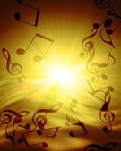 Musical notes against sunset — Stock Photo