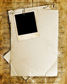 Vintage background with old paper, letters and photos — Stock Photo