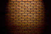 Brick wall with up spotlight — Stok fotoğraf
