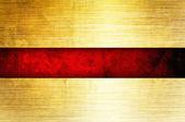 豊富な赤いリボンとゴールドの背景 — ストック写真