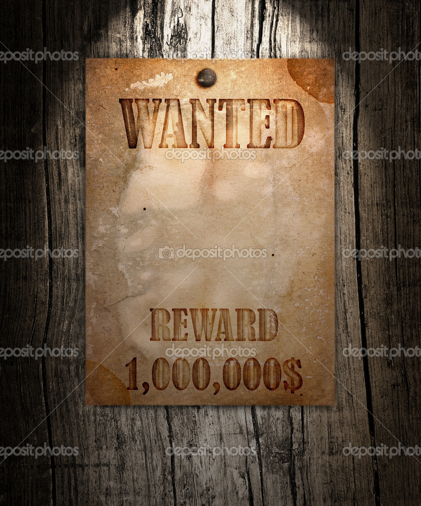 Vintage wanted poster on a wooden wall — Stock Photo #10588278